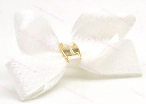 Бант с резинкой белый с украшением