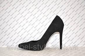 Туфли лодочки черного цвета на шпильке натуральная замша, фото 2