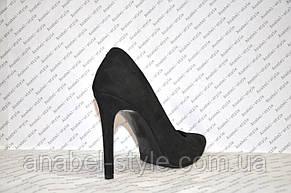 Туфли лодочки черного цвета на шпильке натуральная замша, фото 3
