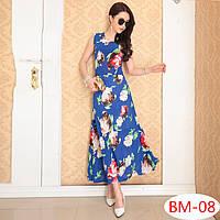 Летнее синее платье  с цветами РМ7054