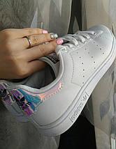 Женские кроссовки в стиле Adidas Stan Smith White Metallic Silver-Sld, фото 2