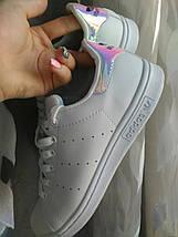 Женские кроссовки в стиле Adidas Stan Smith White Metallic Silver-Sld, фото 3
