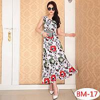 Летнее длинное платье  с цветами РМ7056