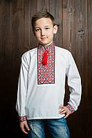 Вышиванка для мальчика на длинный рукав с манжетами и помпонами