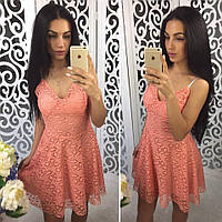 Сарафан женский летний из кружева на подкладке мини 3 цвета SMok1451