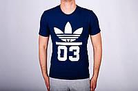 Мужская футболка Adidas, мужская футболка Адидас, спортивная, брендовая, хлопок, синяя, размеры все
