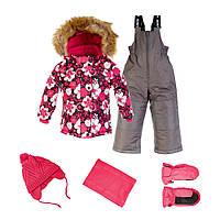 Зимний комплект для девочек с аксессуарами Gusti Boutique GWG 4621 Dark Pink. Размеры 92, 122 и 128.