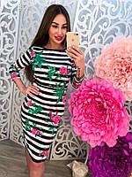 Летнее трикотажное платье   в цветы