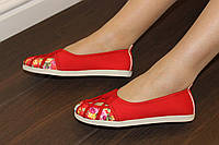 Т771 - Балетки женские красные текстиль