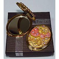 """Женское косметическое зеркальце в подарочной упаковке золотой корпус, коллекция """"Венеция"""""""