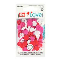 Кнопки Color Snaps PrymLove,розовый/красный/белый., 12мм, Prym