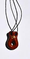 Аромакулон, Аромамедальон, кувшин 4, на кожаном шнурке, керамический Коричневый