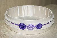 Свадебное сито белое с фиолетовыми цветами