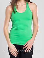 Жіноча еластична спортивна майка-борцовка зелена XS