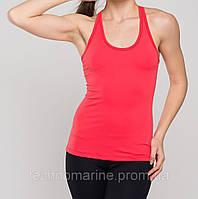 Женская эластичная спортивная майка-борцовка коралловая XS.
