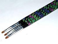 Кисть для геля закругленная с цветочным принтом №4, кисть YRE YKGR-04-C, роспись ногтей гелем
