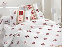 Евро комплект постельного белья красный