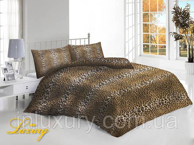 Евро комплект постельного белья Леопард, фото 2