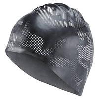 Силиконовая шапочка для плавания reebok черная с принтом BK6467