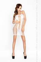 Эротическое белое платье-сетка BS 027 PASSION белое
