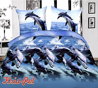 """Комплект постельного белья Евро двуспальный, п/э 3D """"Дельфины"""""""