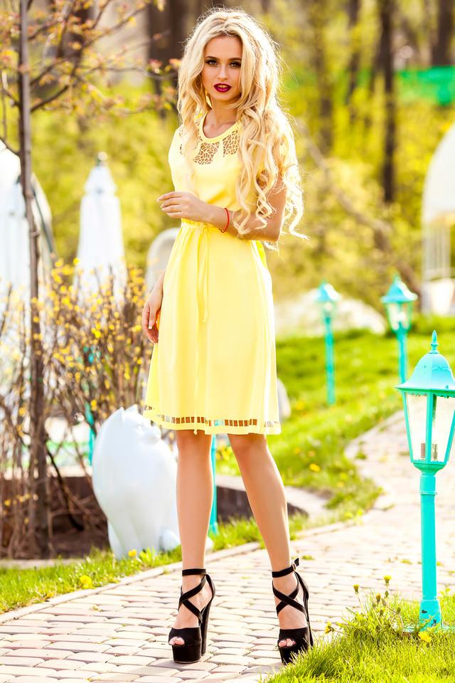 Желтая туника платье