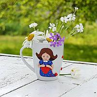 Подарок любимым девушкам подругам бабушкам мамам на день влюбленных или 8 марта Сувенирная кружка с декором