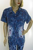 Рубашка джинсовая  с цветами Big Dart