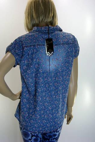 Рубашка джинсовая  с цветами Pion, фото 2
