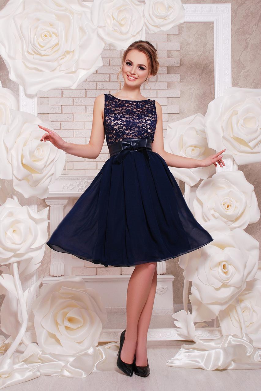 Шифоновое платье на выпускной темно-синее 552001