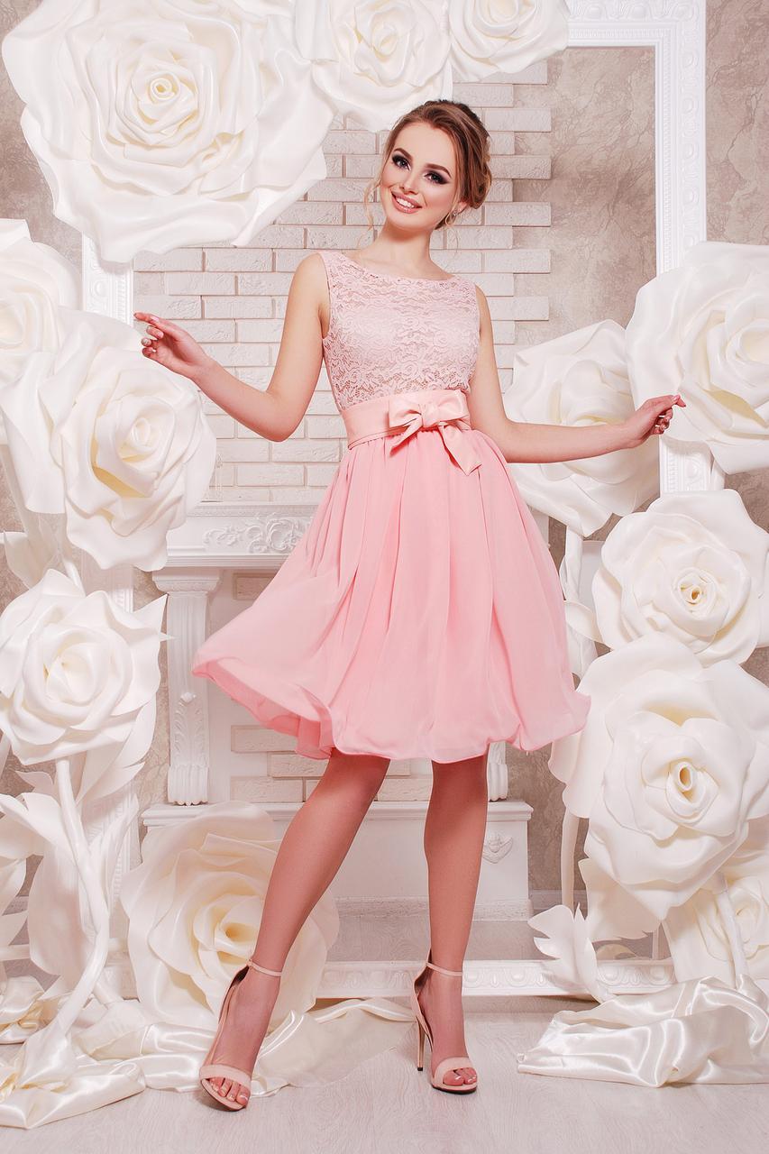 Красивое короткое вечернее платье на выпускной из шифона и гипюра цвет персиковый мятный синий