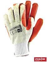 Рабочие перчатки тканевые с резиновым покрытием, 10 размер, Польша