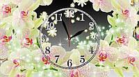 """Часы настенные стеклянные """"Композиция из орхидей"""""""