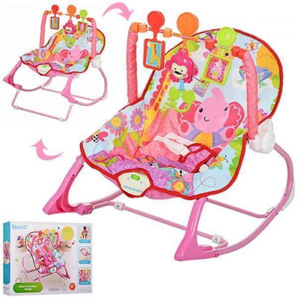 Детский шезлонг-качалка от 0+  розовый для девочки