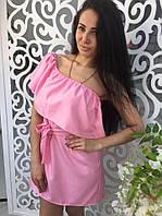 Платье летнее короткое , Цвет: голубой, розовый ,зелёный ,бордовый ,малиновый. Ткань: хлопок  мдав №7744