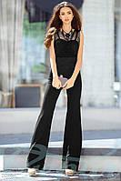 Элегантный женский комбинезон с брюками клеш на тонких шлейках креп костюмка