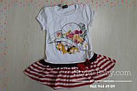 Детское платье для девочки с оборкой в полоску размер 92,98,104 см