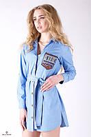 Джинсовое платье-рубашка с поясом и разрезами