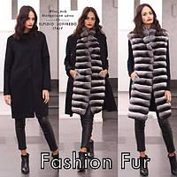 Пальто двойка из кашемира и меха шиншиллы, длина 90 см , фото 1
