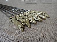 """Шампура ручной работы """"Охотничьи трофеи"""" в коричневом кожаном колчане (набор шампуров  6шт)"""