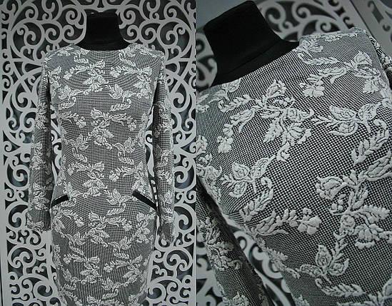 Женское платье карманы-обманки из экокожи 42, 44 размеры, фото 2