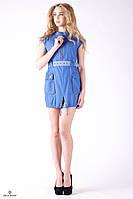 Летнее джинсовое платье-туника с поясом и застежкой-молнией