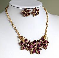 Комплект украшений Колье и серьги Florich фиолетовый , набор бижутерии
