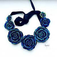 Колье женское Розы синее , бижутерия магазин