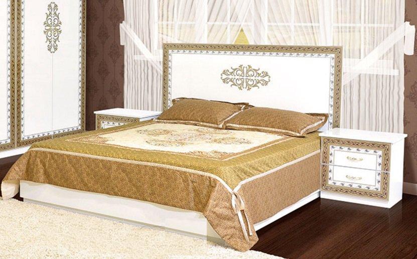 """Двоспальне ліжко """"Софія"""" біла чорна"""