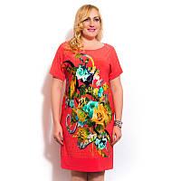 Летнее женское  платье с цветочным принтом большого размера