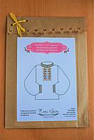 Водорастворимый флизелин с нанесенной схемой Орнамент для вышивки мужской сорочки
