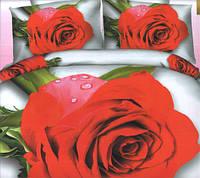 Комплект постельного белья евро размер Алая Роза  ,  постельное белье