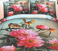 Комплект постельного белья евро размер Букет Хризантем  , постельное белье