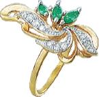 """Серебряное кольцо с имитацией изумруда """"006"""", фото 1"""